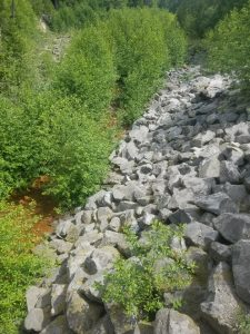 Riprap, the predecessor to root wad using boulders, photo by self