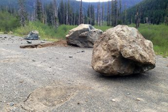 Rockfall at Westside Road, photo by NPS