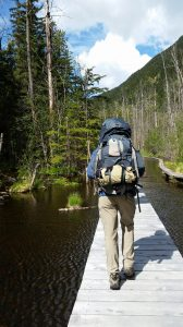 Hiking through the Beaver Ponds along the Chilkoot Trail.