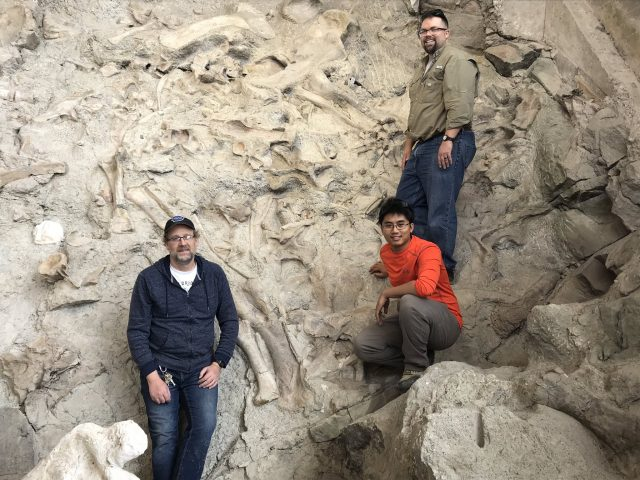 Paleontologists John Foster, left, and Mathew Wedel, upper right, with me, lower right. Photo courtesy of ReBecca Hunt-Foster.