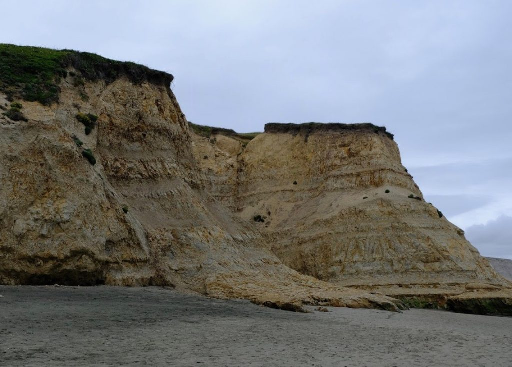 Coastal cliffs along Drake's Beach