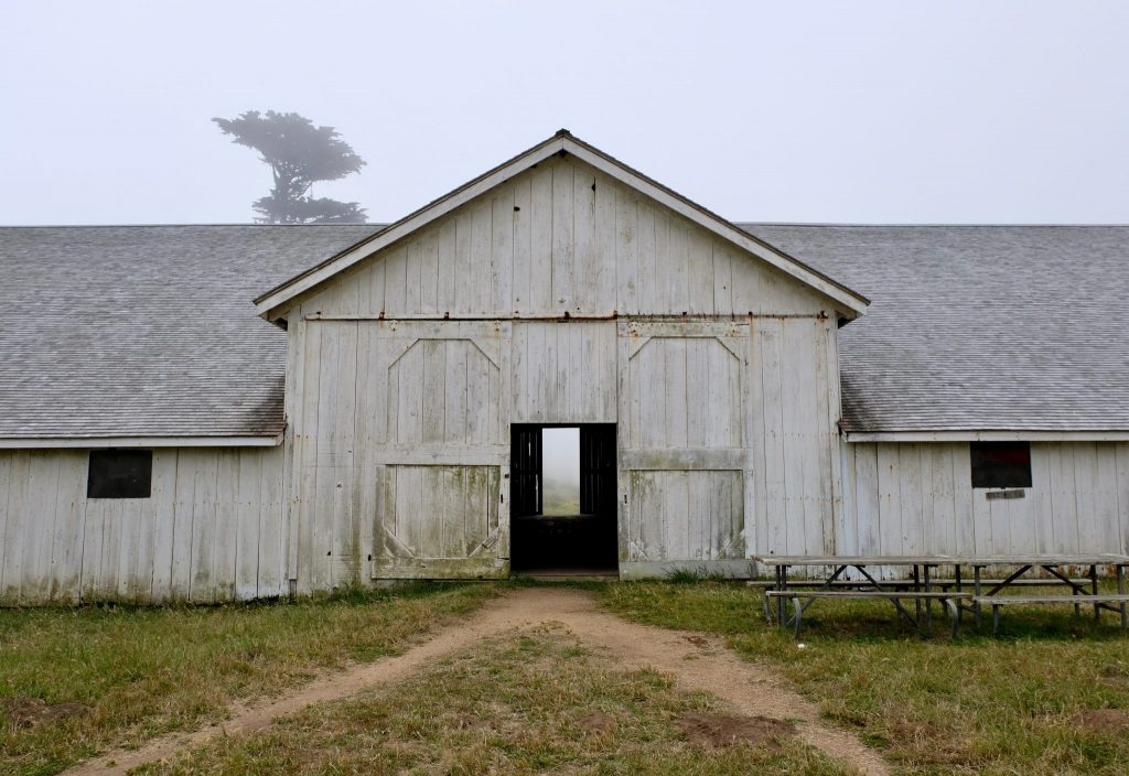 The historic Pierce Point Ranch on a foggy morning