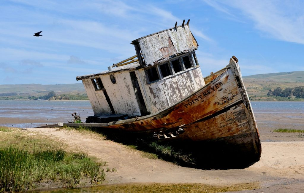 Abandoned fishing boat in Inverness along Tomales Bay