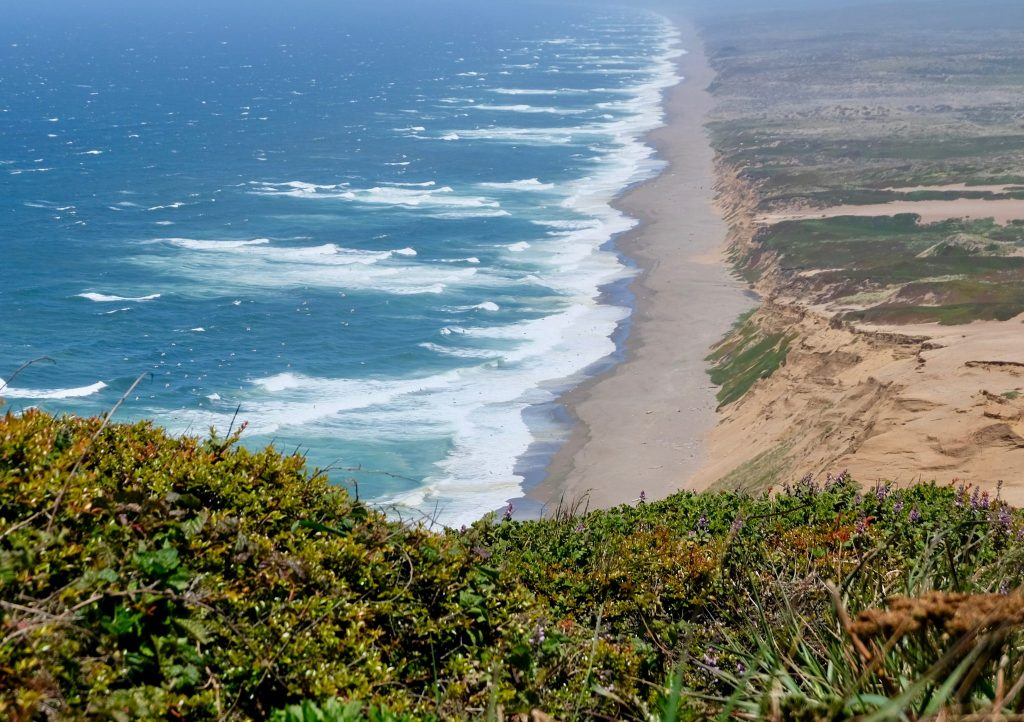 View of Point Reyes Beach from lighthouse parking lot